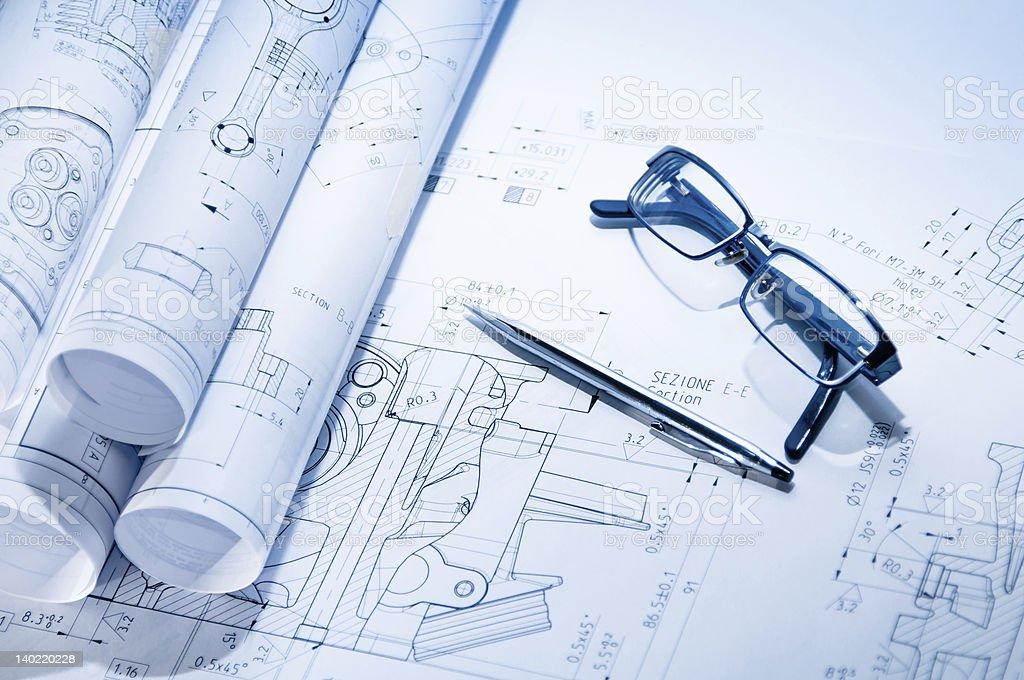 Engineering blueprint royalty-free stock photo