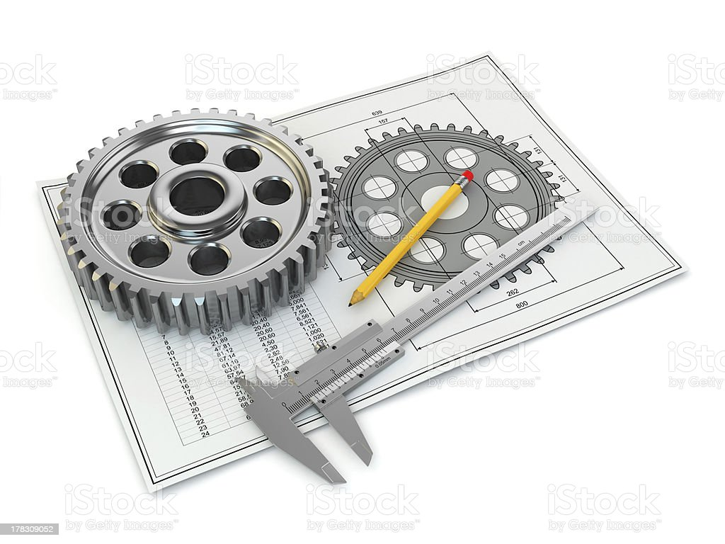 Engineering drawing. Gear, trammel, pencil and draft. royalty-free stock photo