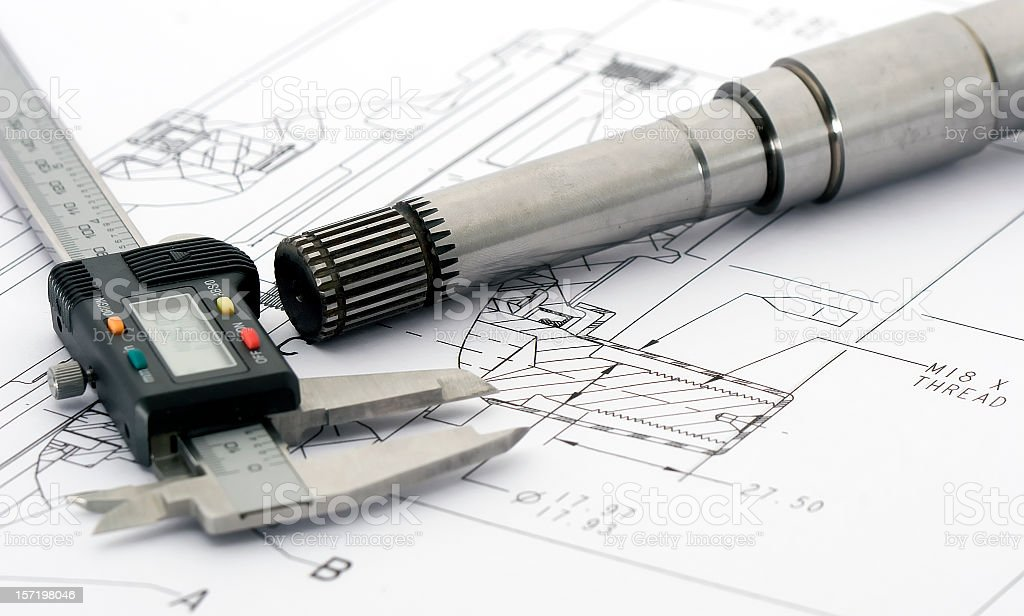 Engineering drawing tools on a layout royalty-free stock photo