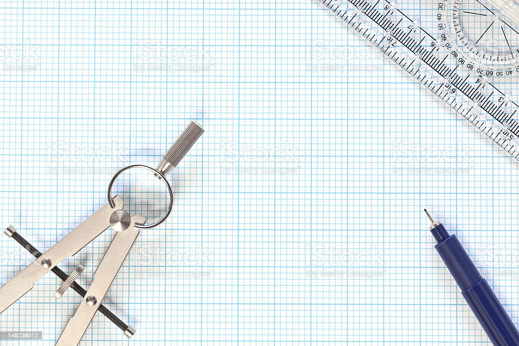 Engineering graph paper and compass still life royalty-free stock photo