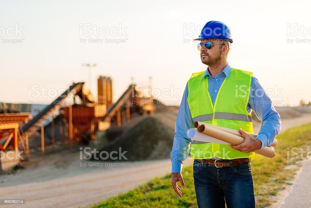 Engineering in iron mine stock photo