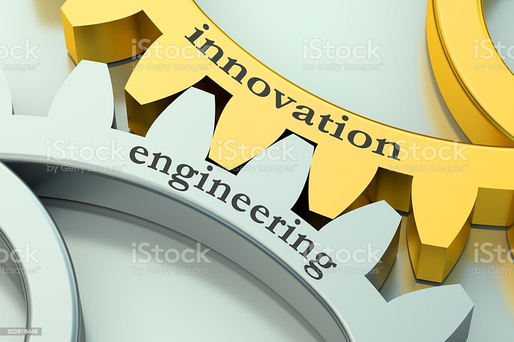 Engineering Innovation concept on the gearwheels stock photo