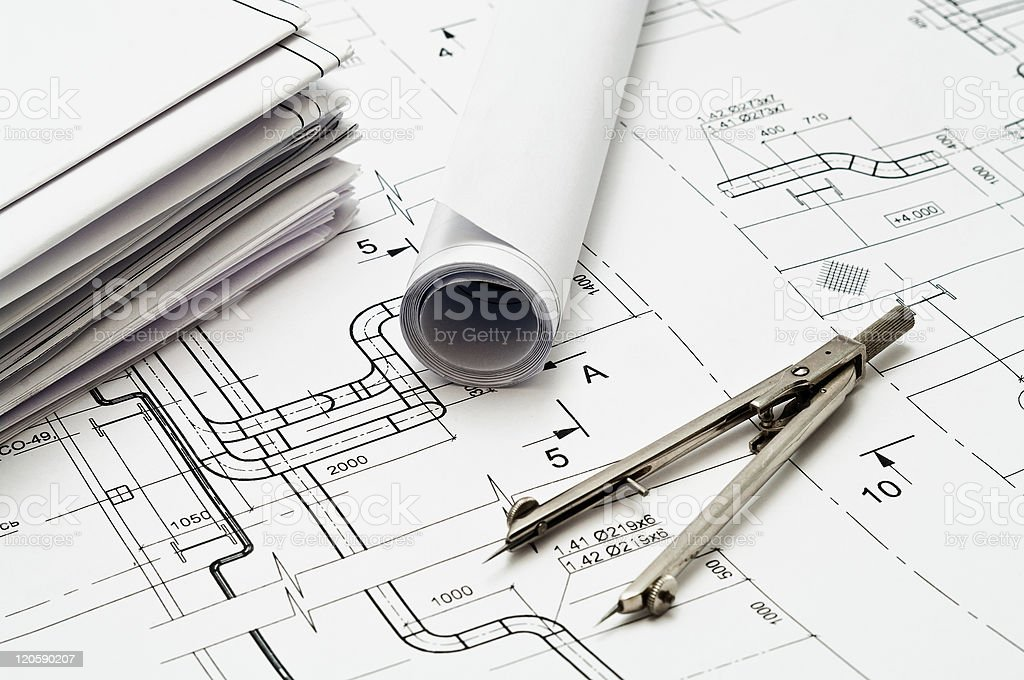 Engineering instrument and working drawings royalty-free stock photo