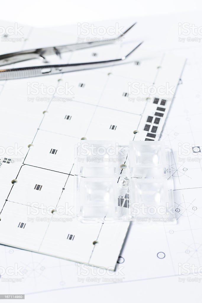Engineering Led Panel -  Circuit Board And Tweezers stock photo