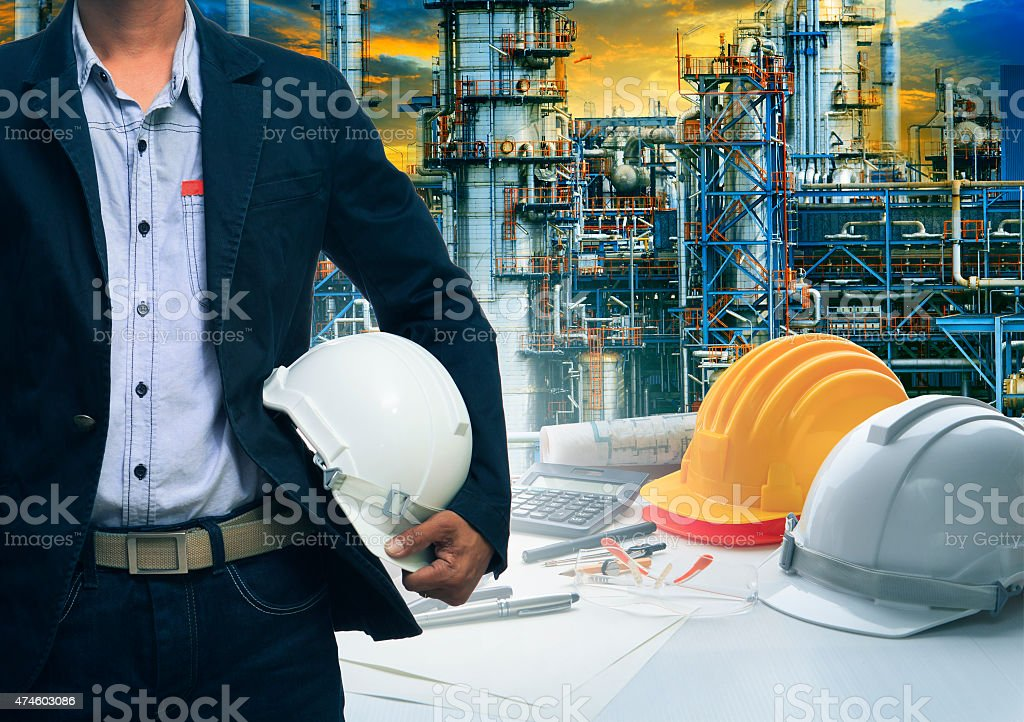 engineering man and industry scene behind stock photo