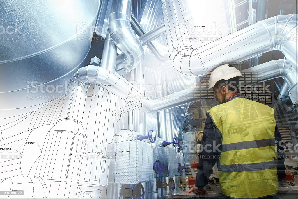 engineering man working on power plant as operator against drawi stock photo