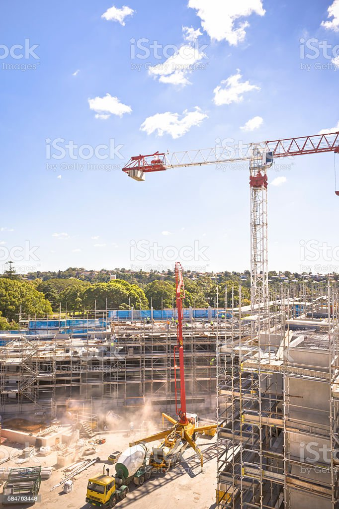 Engineering masterpiece under the sky, with fixed cranes around stock photo