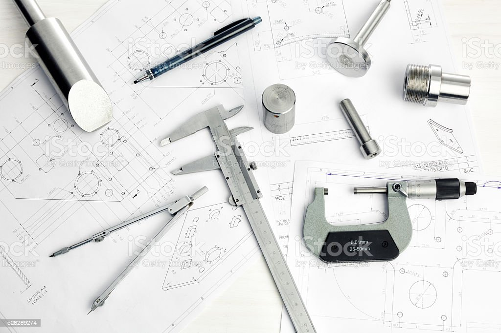 Engineering plan stock photo