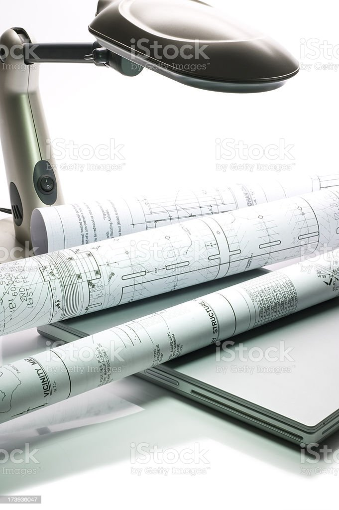 Engineering Plans on Desk royalty-free stock photo