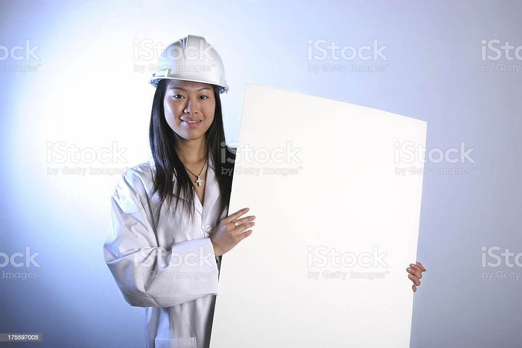 Engineering student with sign. stock photo