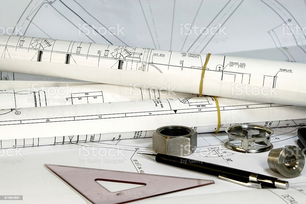 Engineering Tools and Drawings royalty-free stock photo