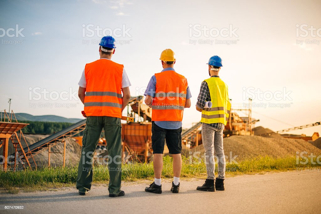Engineers and geologists discuss next project stock photo