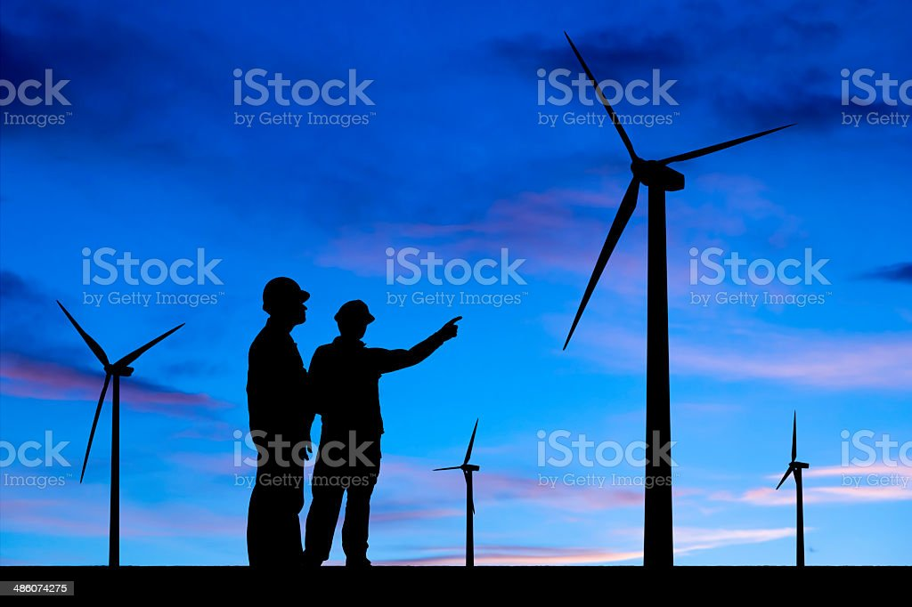 Engineers and Wind Energy stock photo