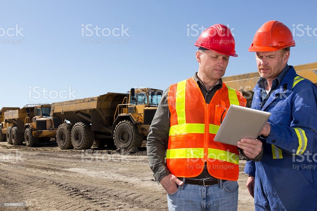 Engineers at a Construction Site stock photo