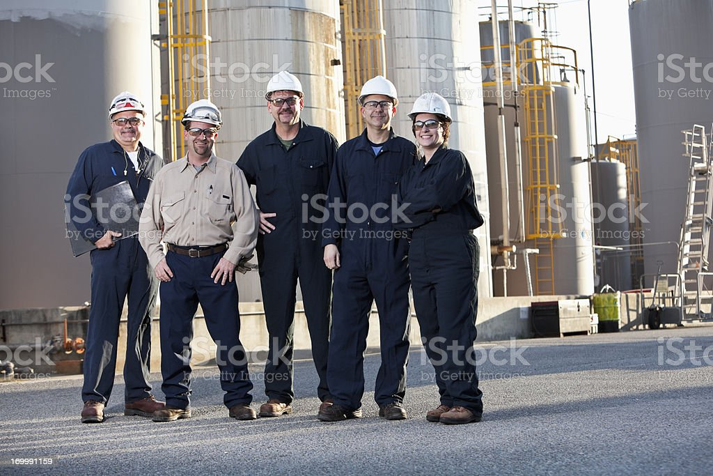 Engineers at chemical plant royalty-free stock photo