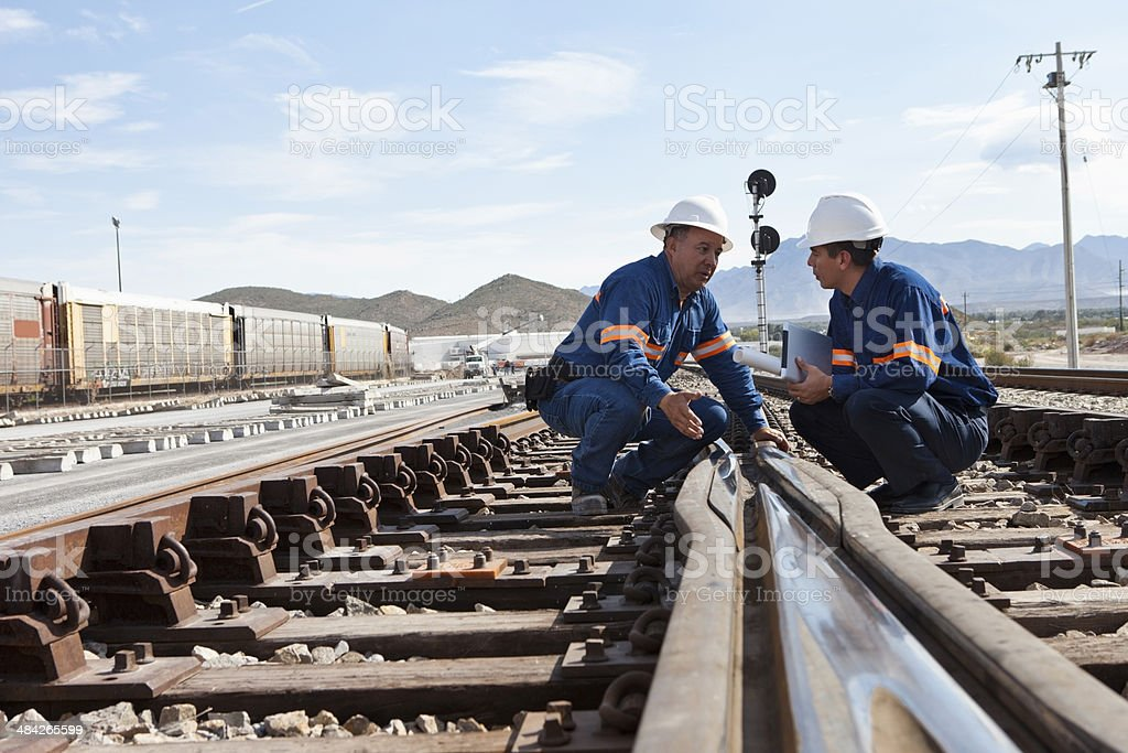 Engineers at Railroad Construction stock photo