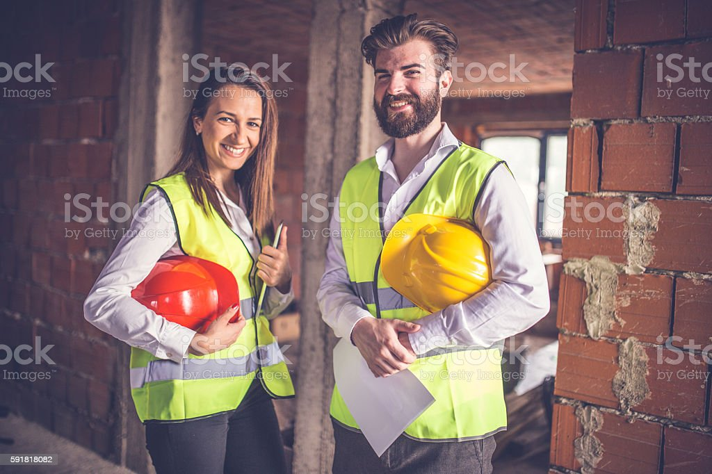 Engineers at the construction site stock photo