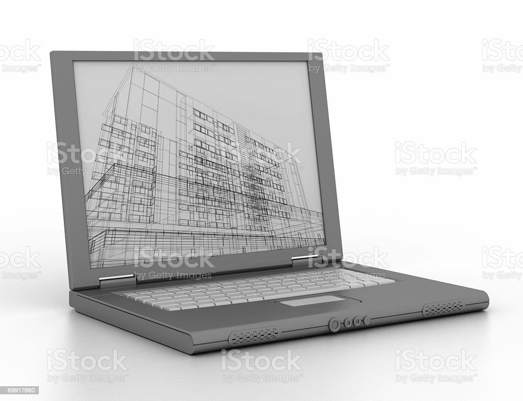 Engineer's laptop (isolated on white) royalty-free stock photo