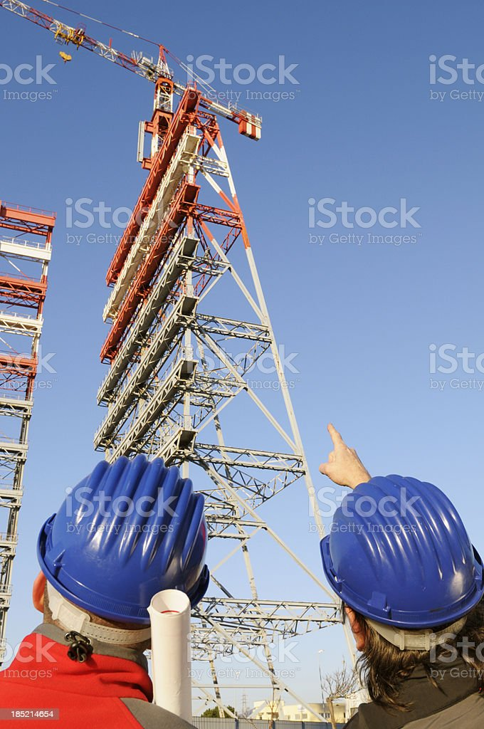Engineers Planning inside Construction Site royalty-free stock photo