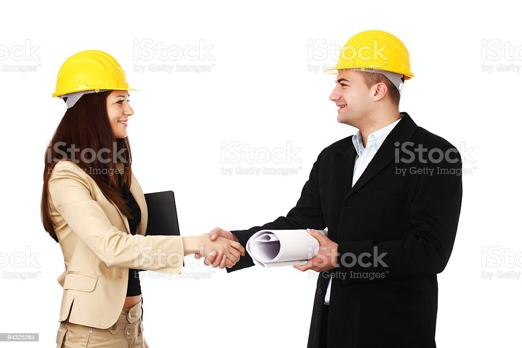 Engineers talking about project. royalty-free stock photo