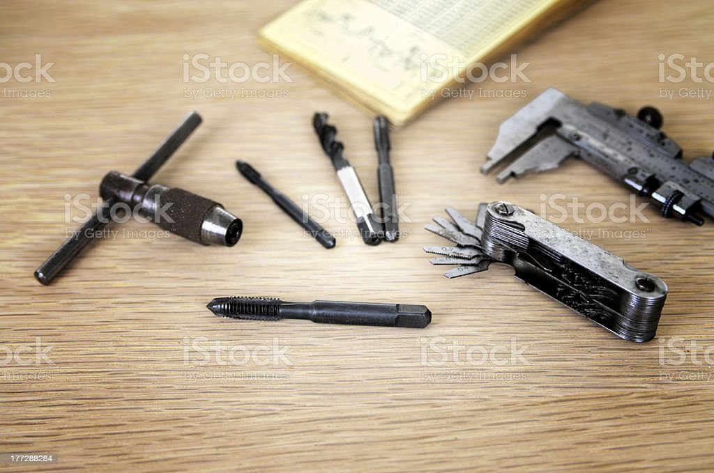 Engineers Tools Callipers Thread Gauge And Taps stock photo