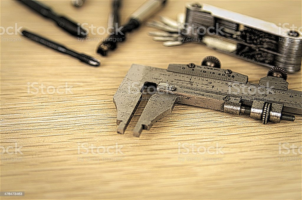 Engineers Tools On Workbench stock photo