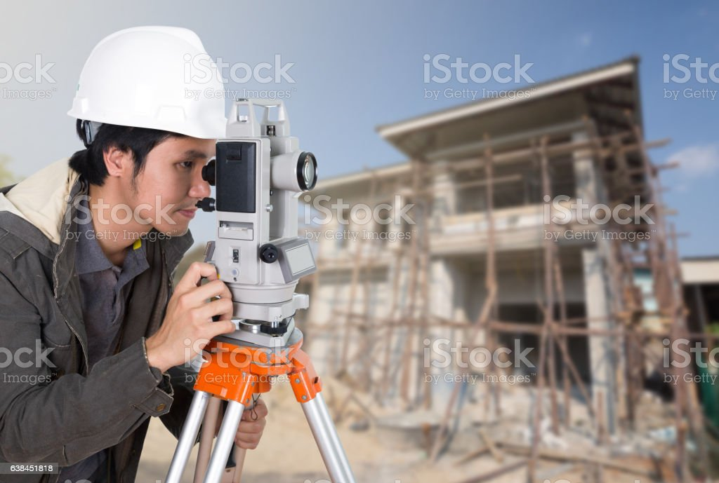 Engineers use tacheometer or theodolite stock photo