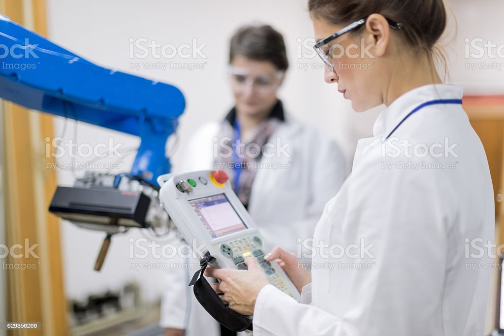Engineers working in research lab stock photo