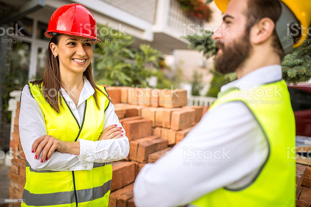 Engineers working together stock photo