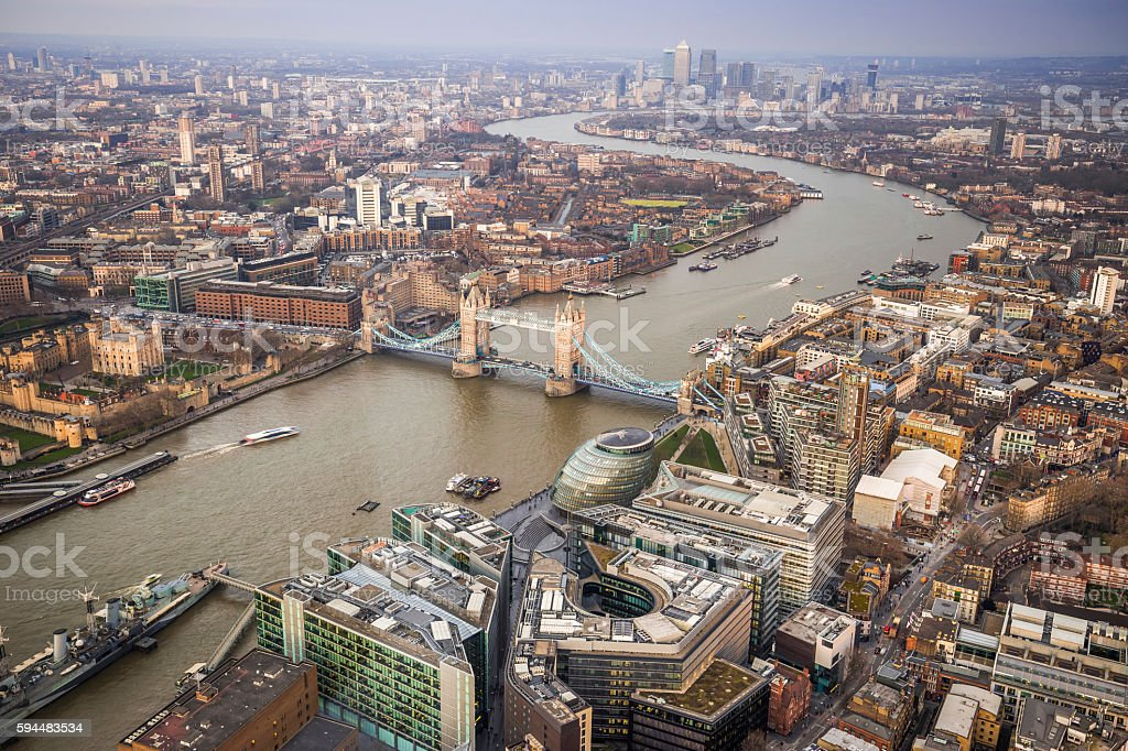 England - Aerial Skyline view of London stock photo