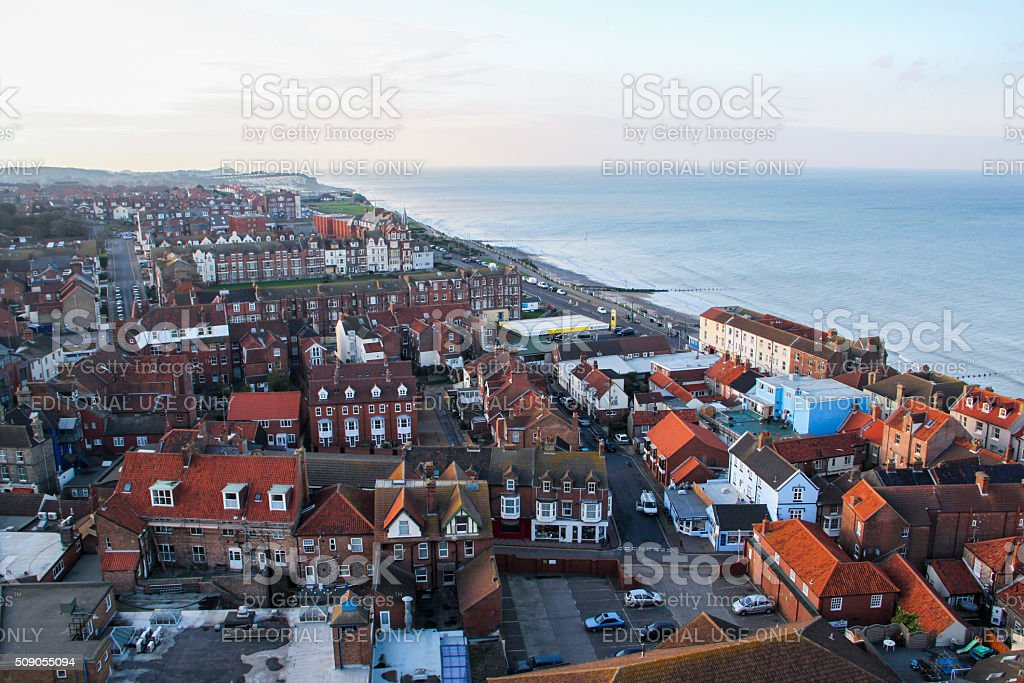 England: Aerial View of Cromer stock photo