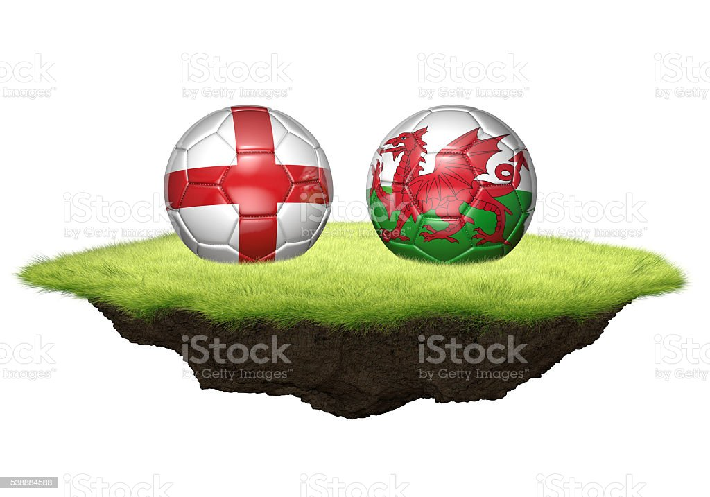 England and Wales team balls for football championship tournament stock photo