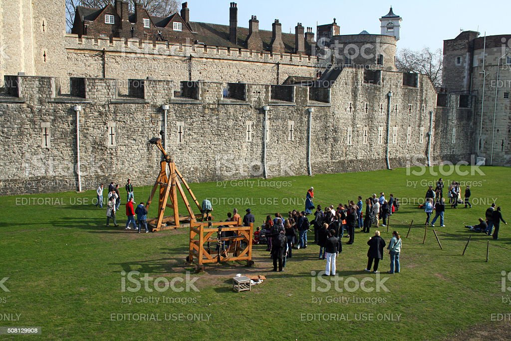 England: Catapult at the Tower Of London stock photo