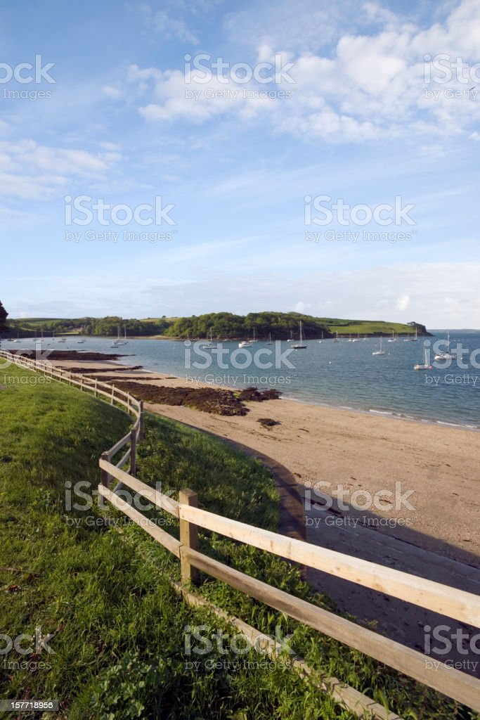 England, Cornwall, a peaceful empty beach at St Mawes stock photo