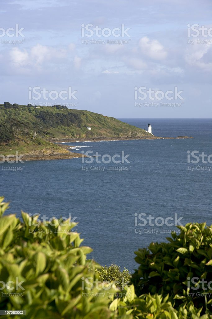 England, Cornwall, view to St Anthony Head and lighthouse stock photo