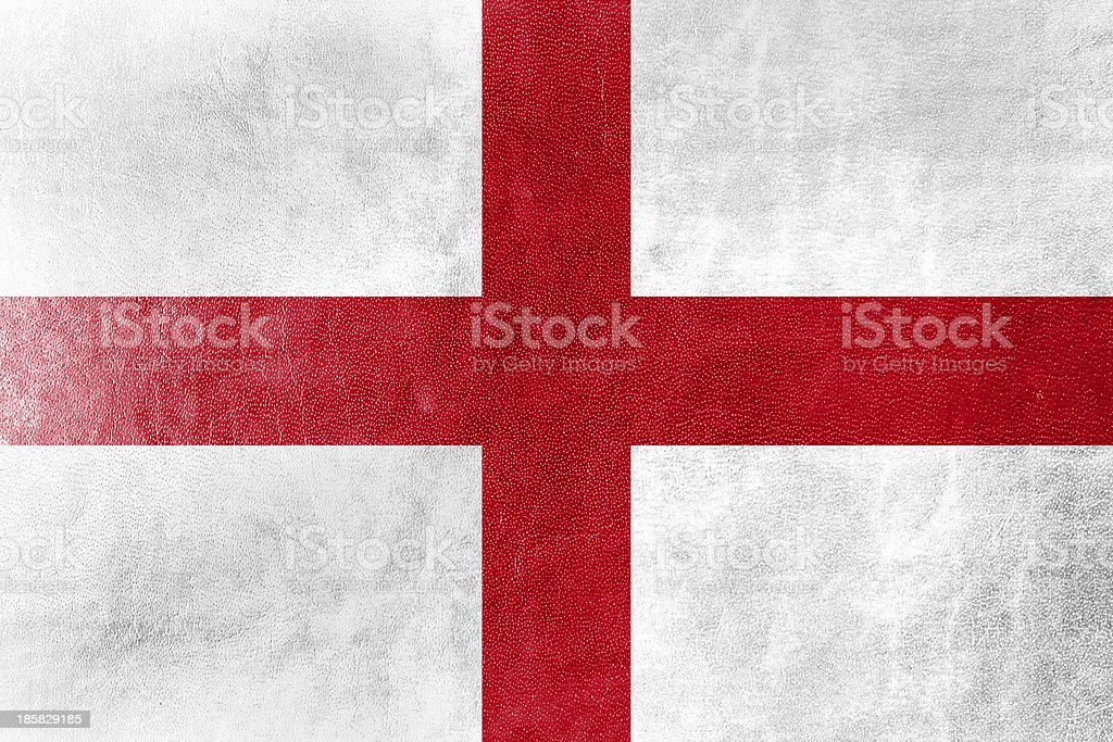 England Flag painted on leather texture stock photo