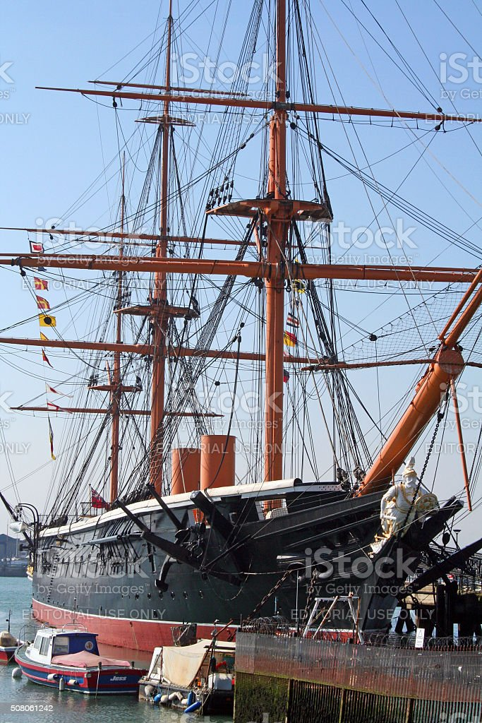 England: HMS Warrior in Portsmouth stock photo