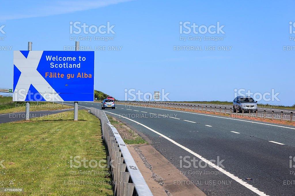 england scotland border crossing stock photo