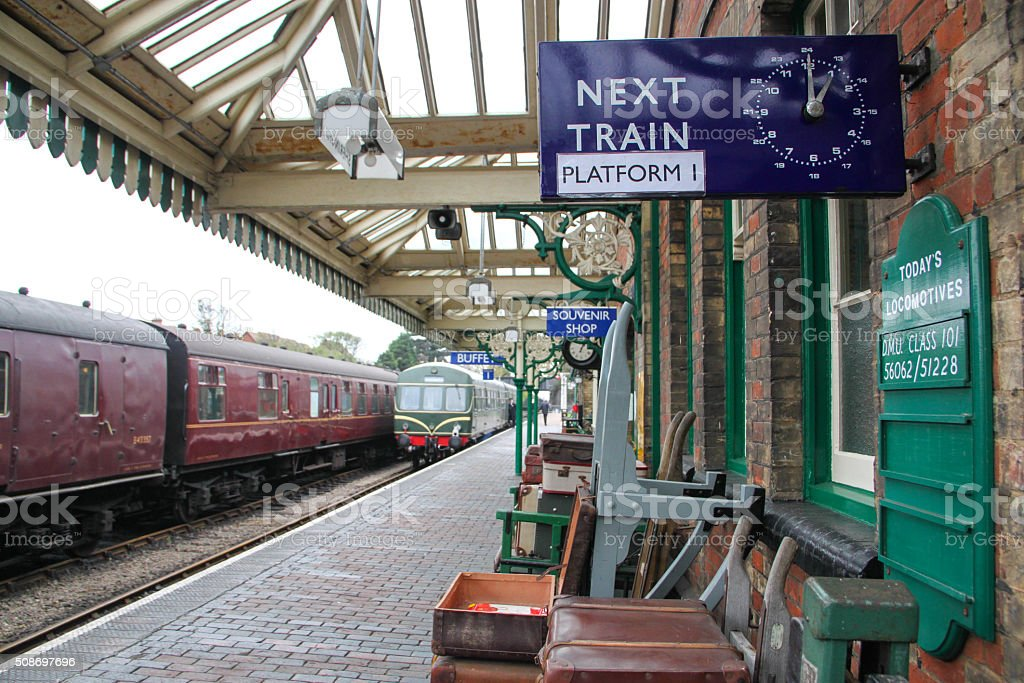 England: Sheringham Train Station stock photo