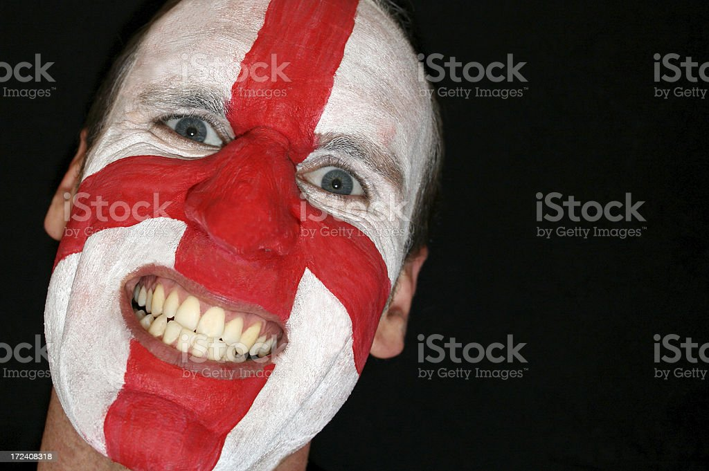 England Supporter with Saint George Flag stock photo