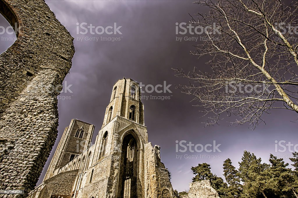 English Abbey including ruins stock photo