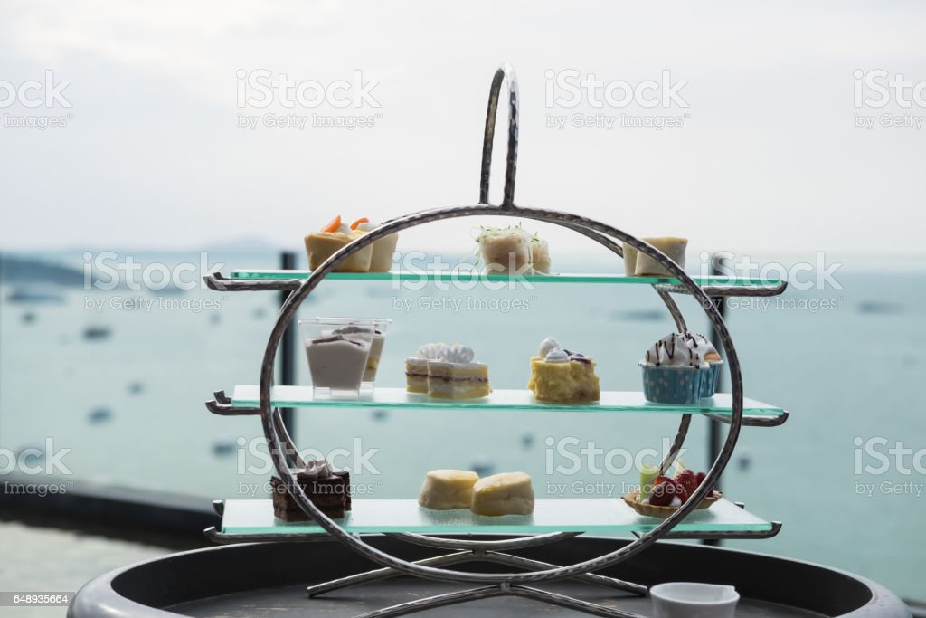 English afternoon tea desserts with beautiful snacks stock photo