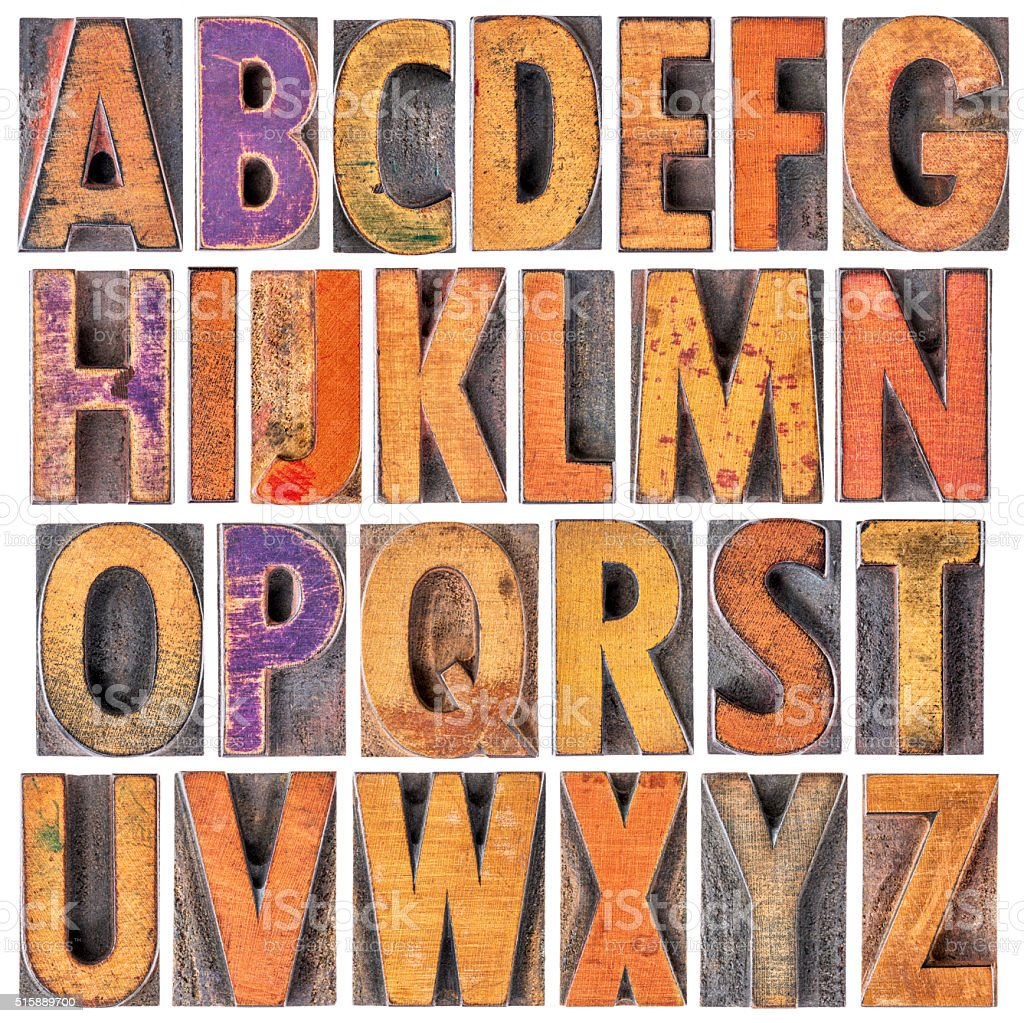 English alphabet in wood type stock photo