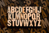 English alphabet in wood type