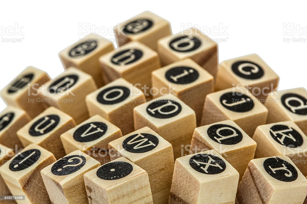 English alphabet lowercase, collage of isolated wood letterpress stock photo