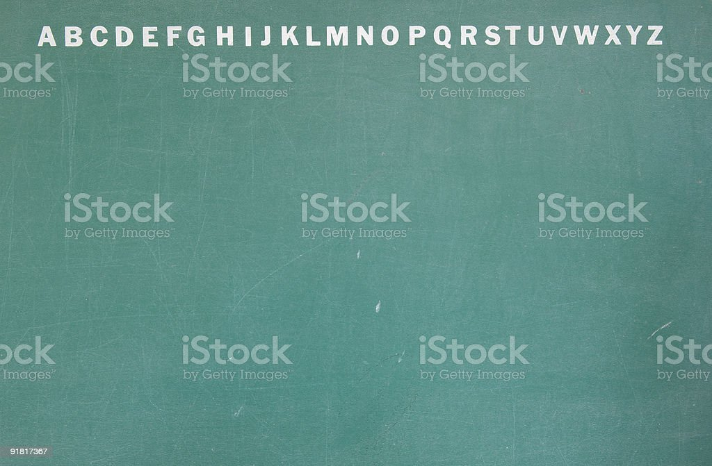 English Alphabet on school chalk board royalty-free stock photo