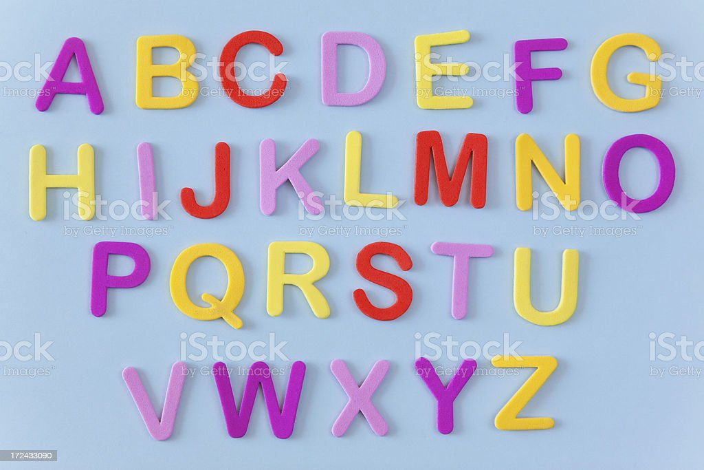 English alphabet with colorful letters stock photo