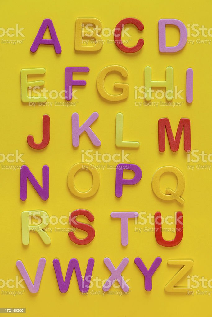 English alphabet with colorful letters royalty-free stock photo
