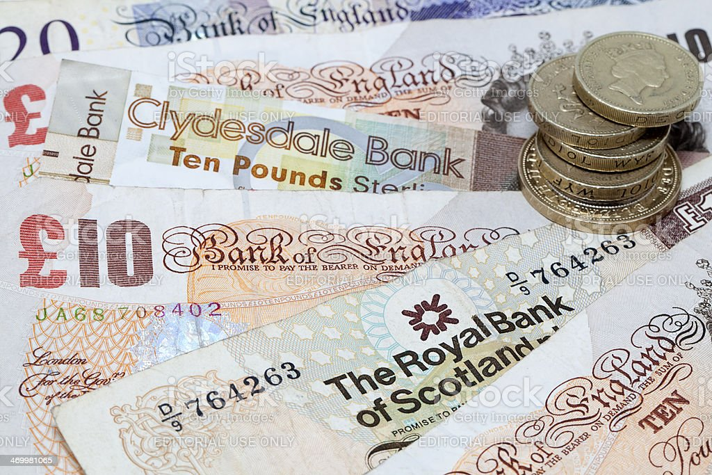 English and Scottish Currency Background stock photo