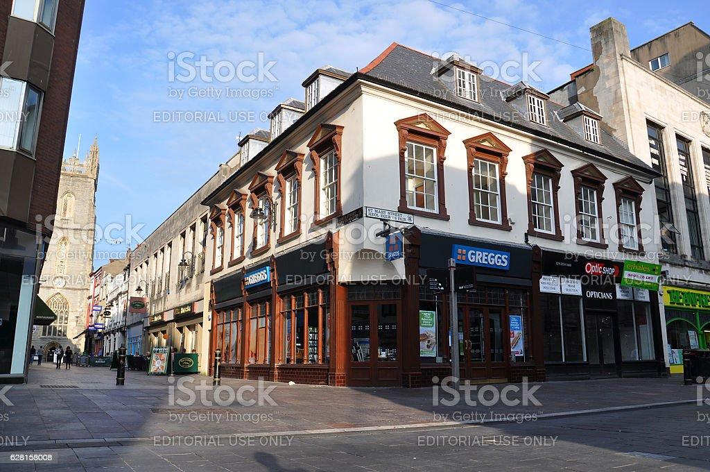 English Architecture in city centre of Cardiff stock photo